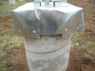 Completed Concrete Pier Homemade Termite Shield