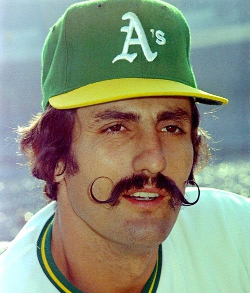 Oakland A's relief pitcher Rollie Fingers poses during the 1973 World Series. (AP)
