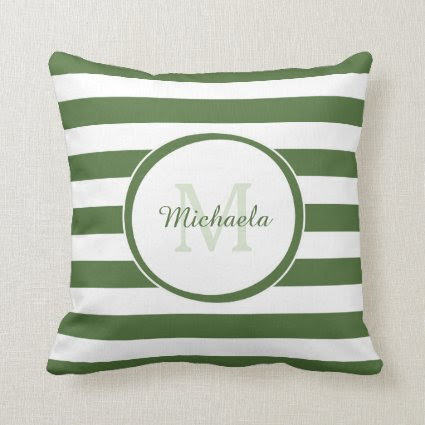 Trendy Green and White Stripes Monogram With Name Pillows