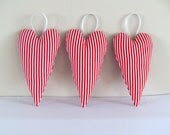 Valentine Love Hearts - set of 3 hanging White and Red candy striped fabric love hearts valentine shabby chic holiday decoration