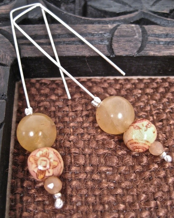 Wood, Quartz and Citrine, Sterling Silver - The Jenny Earring