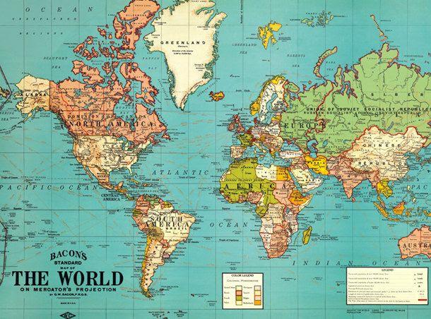 Vintage World Map Old World Map Vintage Art Image