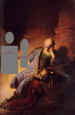 Jeremiah Lamenting, with two unknown friends