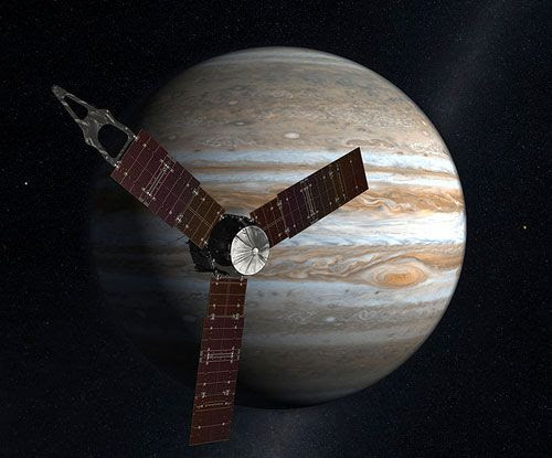 An artist's concept showing the Juno spacecraft approaching Jupiter.