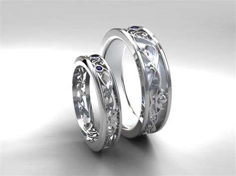 wedding band set white gold sapphire wedding band mens