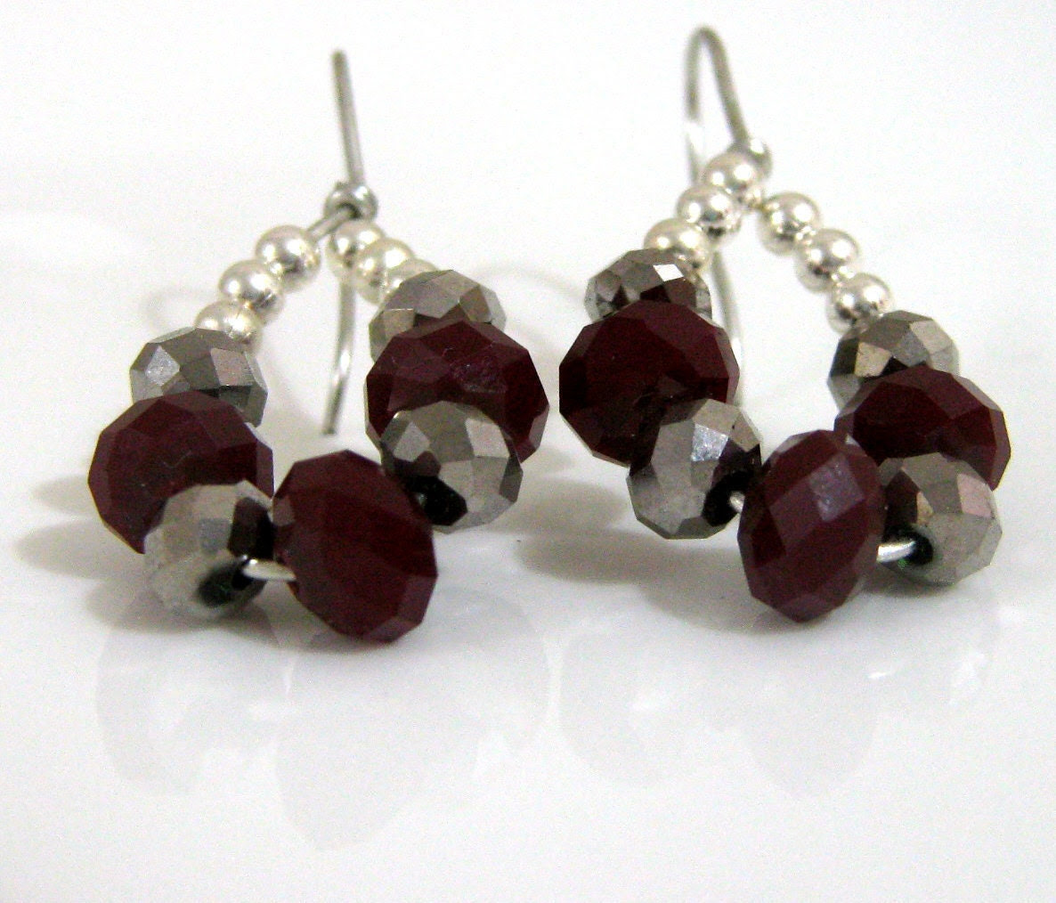 Deep red and gunmetal  teardrop earrings -  crystals hypo allergenic