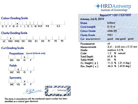 Original-Foto 9, DIAMANT 0,15ct BRILLIANT HRD-EXPERISE, WESSELTON H VVS1, D6118