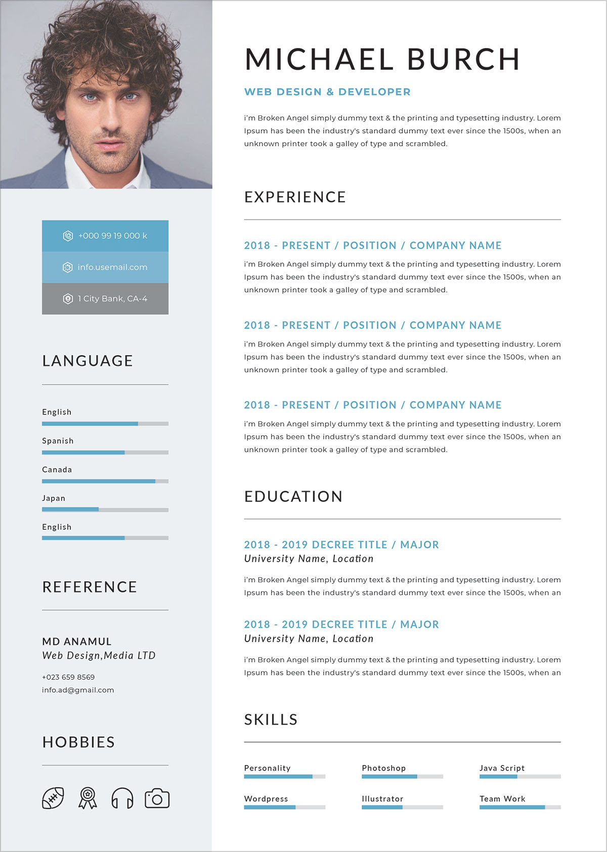 Free Professional Resume Template In DOC, PSD & Ai Format - Good Resume