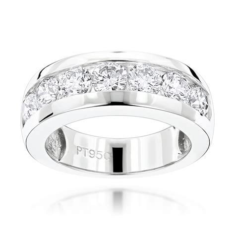 7 Stone Round Diamond Bands: Platinum Diamond Wedding Ring