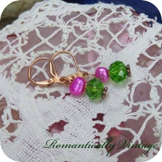 Little Girl's Fuschia Earrings, Dainty, Romantic Country, Shabby Chic, Princess, Paris. Boutique