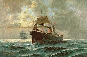 Πλοίο στη Θάλασσα, Λάδι σε Μουσαμά, 80 χ 120 ε...