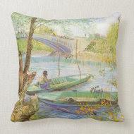 Fishing in Spring Pont de Clichy; Vincent van Gogh throwpillow
