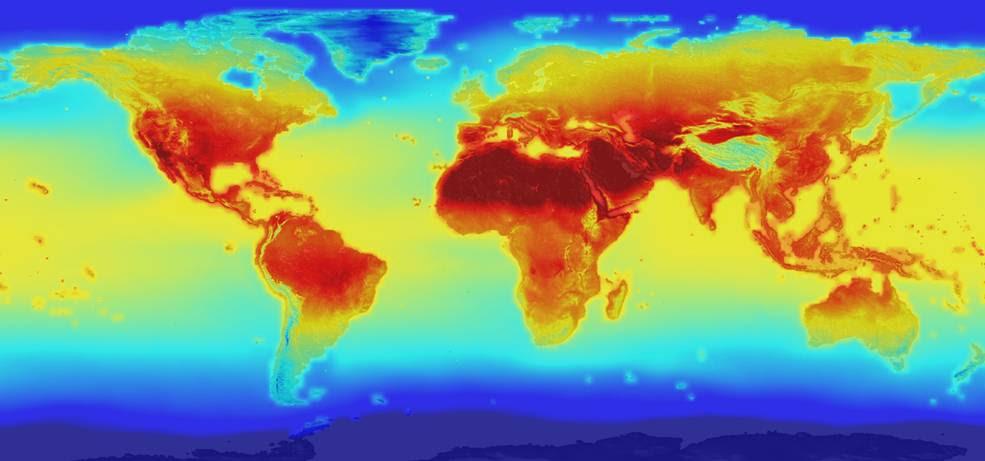Global temperatures map
