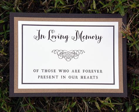 Memorial or Dedication Table Card (Double Mounted