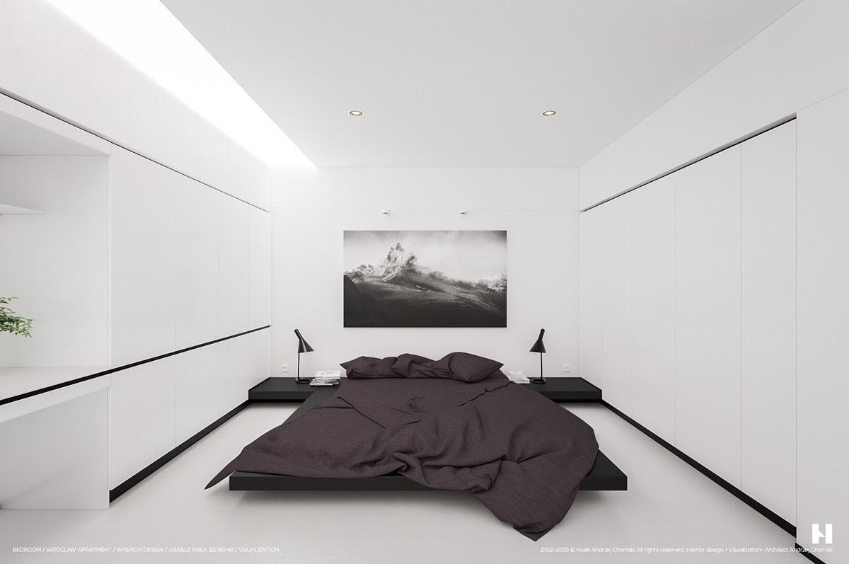 stylish minimalistic bedroom style