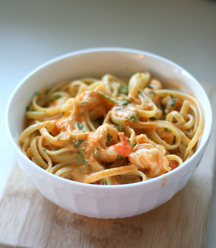 Linguine and Shrimp with Red Bell Pepper Cream Sauce