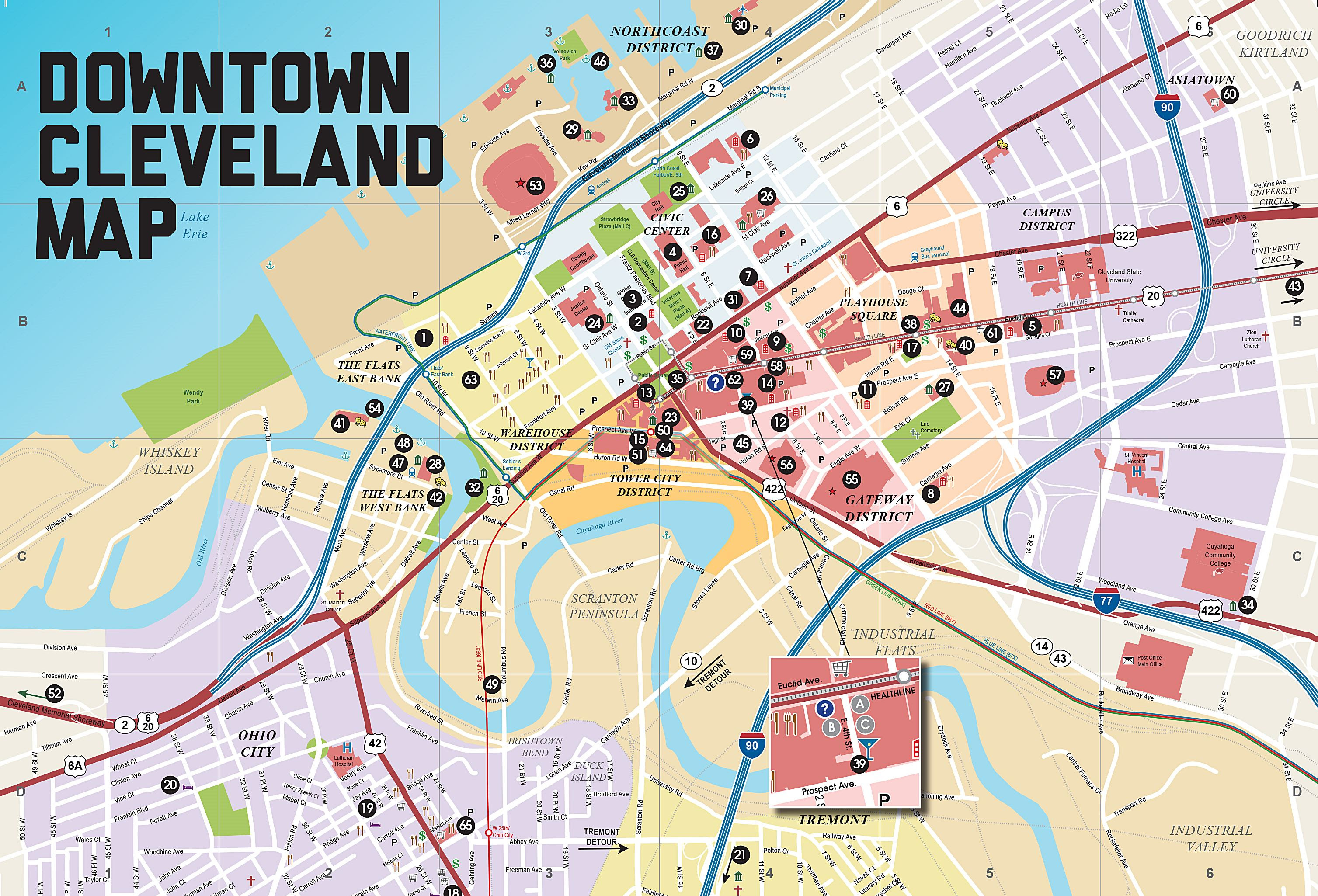 Downtown Cleveland Ohio Map Map Of Us Western States - Cleveland-on-us-map