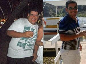 Helder em dezembro de 2011 na primeira imagem e, com 31 kg a menos na segunda, em novembro de 2012 (Foto: Arquivo pessoal)