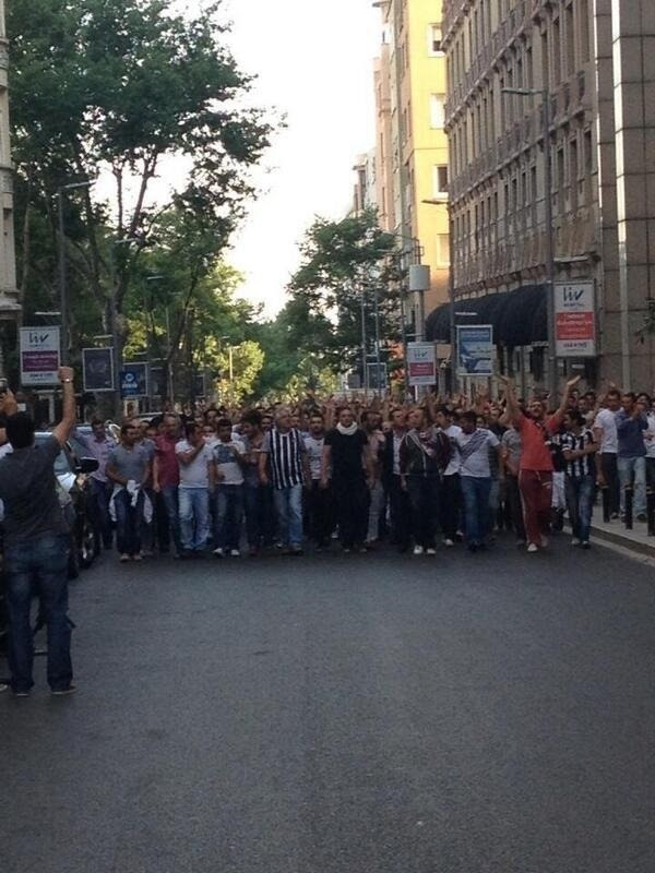Spectators of a Turkish football club are marching towards Taksim to join the protests.