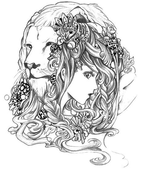 advanced abstract coloring pages  lion  girl