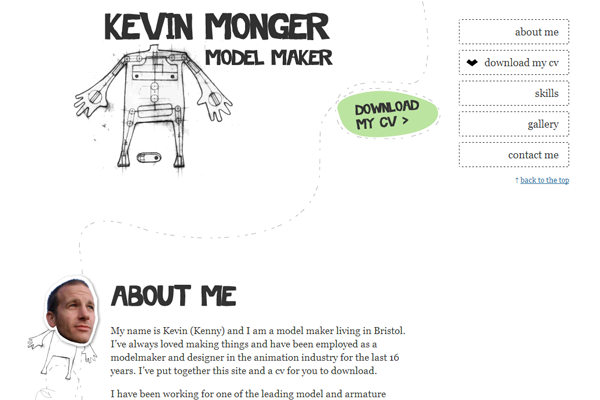 Kevin Monger website portfolio design