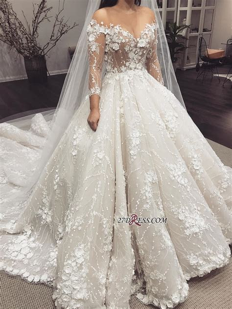 Sexy Crew Long Sleeves 2019 Bridal Gowns   Princess Lace