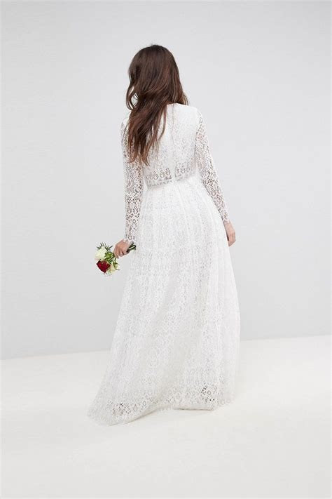 Lace Long Sleeve Crop Top Maxi Wedding Dress   Chic