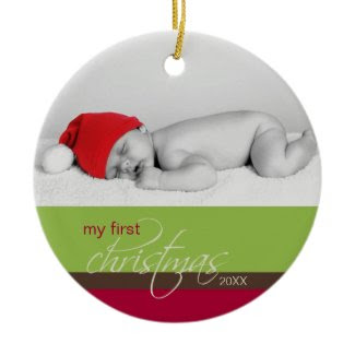 Baby's 1st Christmas Custom Ornament (green)