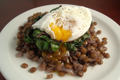 Braised Lentils with Swiss Chard and a Poached Egg