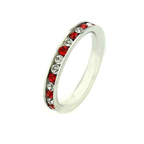 3mm RUBY RED & WHITE CZ ?Fire & Ice? Stainless Steel