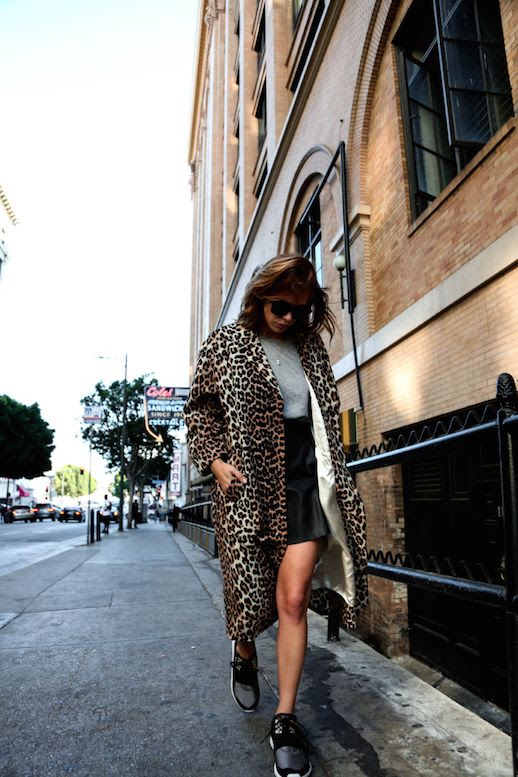 Le Fashion Blog Leopard Print Coat Leather Skirt Grey T Shirt Running Shoes Via Always Judging