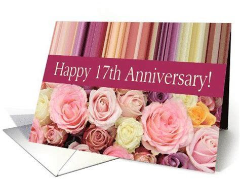 17th Wedding Anniversary Card   Pastel roses and stripes