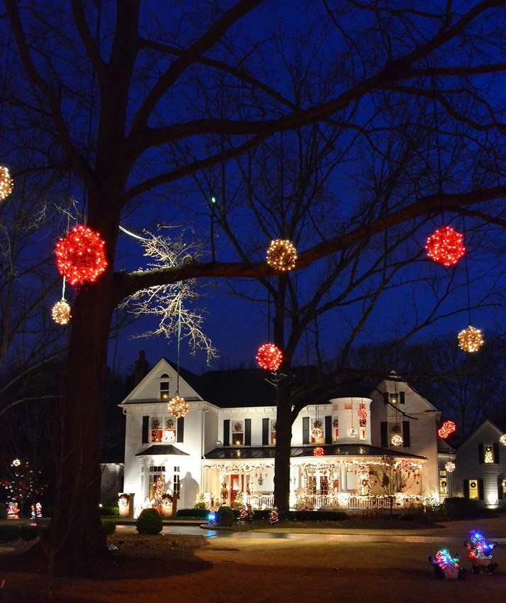 Victorian Home Lit Up & Decorated For Christmas