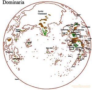 The Dominarian globe, featuring the view from ...