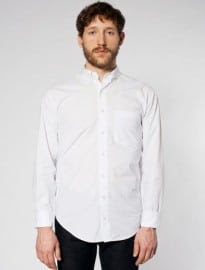 American Apparel Poplin Long Sleeve Button-down Shirt With Pocket
