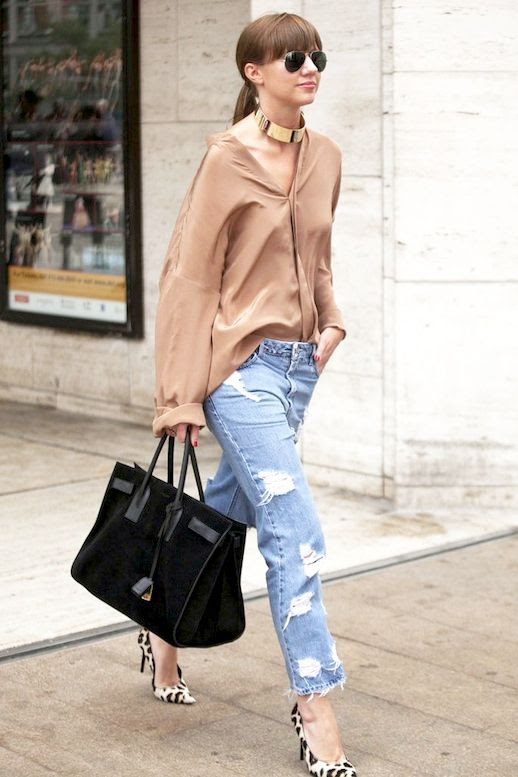 Le Fashion Blog Street Style Gold Choker Beige Silk Button Down Shirt Ripped Boyfriend Jeans Black Suede Tote Bag Leopard Print Pumps Via Popsugar