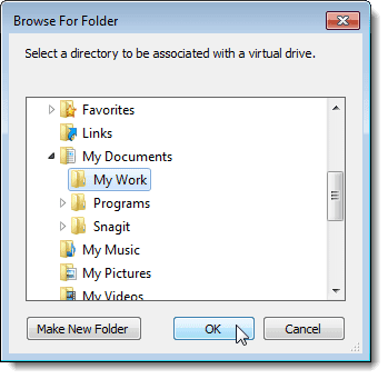 Selecting a folder on the Browse For Folder dialog box