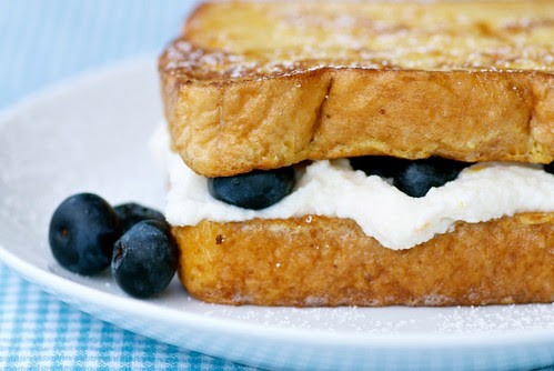 Ricotta and Blueberry Stuffed French Toast Sandwich