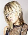 medium length hair with lowlights image