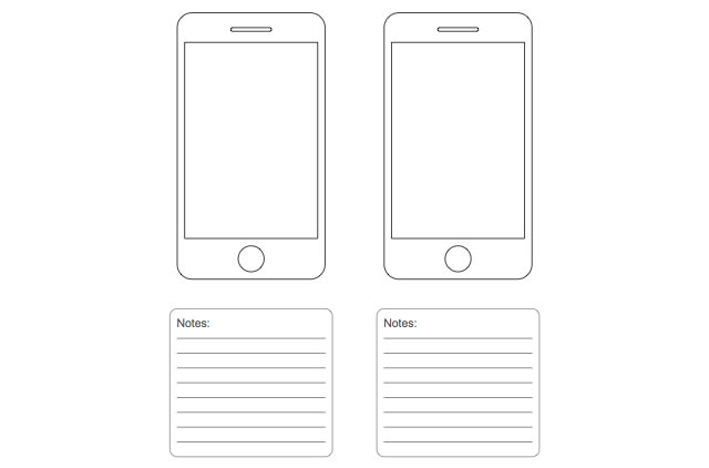 Plantilla Wireframe iPhone para dibujar