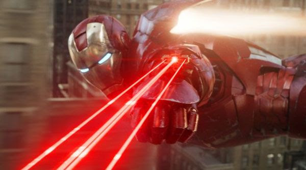 Iron Man uses one of his many awesome weapons against an unseen enemy in THE AVENGERS.
