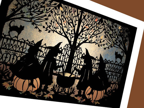 halloween, paper cutting, witches, cauldron