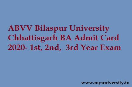 Bilaspur University Chhattisgarh BA Admit Card 2020