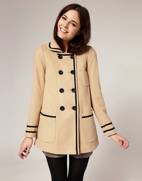 Image 1 of River Island Wool Mix Contrast Trim Swing Coat