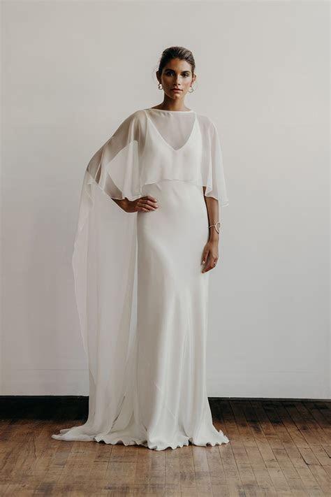 Carolyn dress with chiffon cape front   Lena Medoyeff