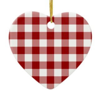 Red and White Gingham Pattern ornament