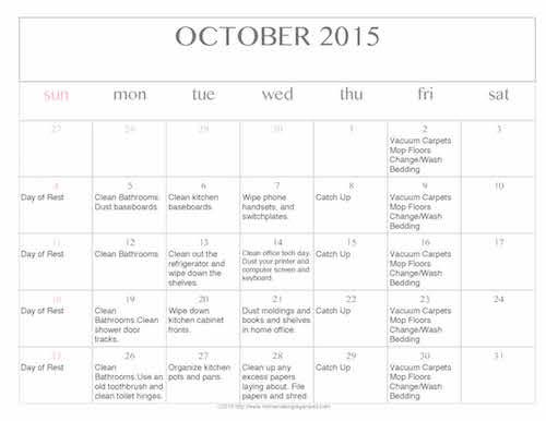Free Editable Printable October 2015 Cleaning Calendar - Money ...