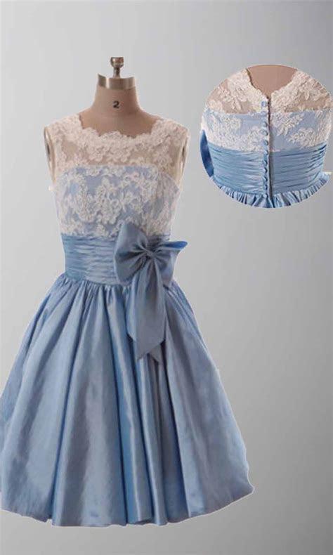 Lace Vintage Cute Bow Knot Short Bridesmaid Dresses KSP289