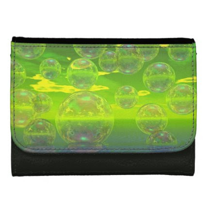 Field of Clarity, Abstract Yellow Green Ocean Wallets