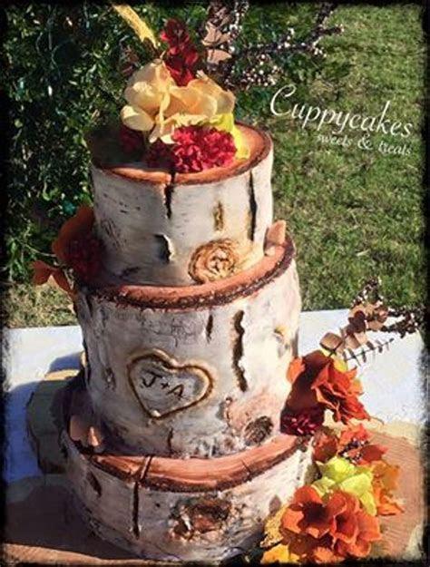 Rustic Birch Log Wedding Cake   CakeCentral.com